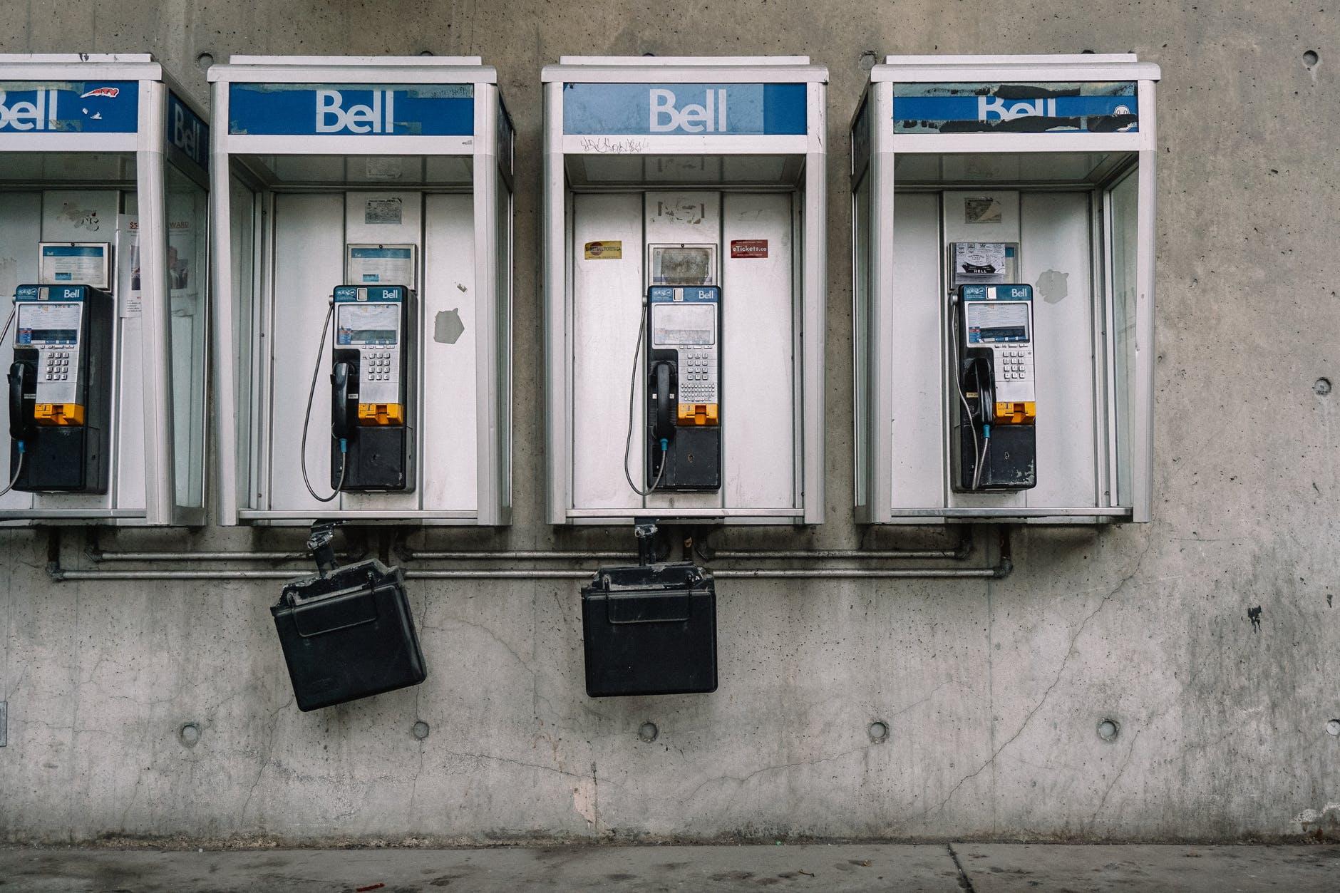 old public phones in city